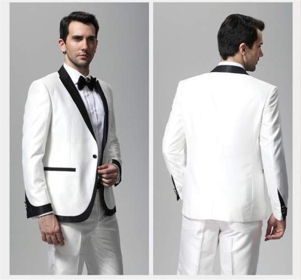 Groom Wedding Suits Peaked Lapel One Button White Tuxedos 2 Pieces ...